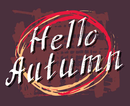 sep: Hello Autumn. Lettering background. Perfect Hand Drawn Art-illustration. Card design. Handwritten letters. Handlettering Poster, banner, postcard with quote, text, phrase for fall. Vector illustration