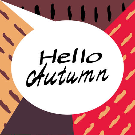 elation: Hello Autumn. Composition Drawing. Perfect Hand drawn Inscription, Superscription, Collocation. Hand-lettering Font. Creation logo, card, poster, banner. Illustrate letters. Vector Illustration. Illustration