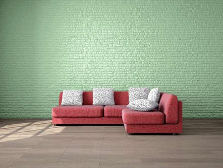 Moderna minimalista interno di un soggiorno con casa Mobili per il vostro umore e Design. Soggiorno con comodo sofà rosso nei pressi di un muro di mattoni verde. Illustrazione di rendering 3D.