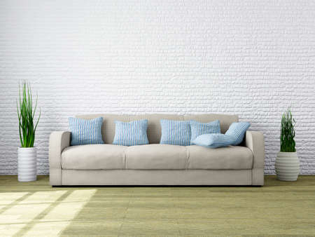 living room wall: Modern Minimalist interior of a Living Room with home Furniture for your Mood and Design. Livingroom with Comfortable and Cozy, Sofa and a Plant near a Brick Wall. 3d Rendering Illustration. Stock Photo