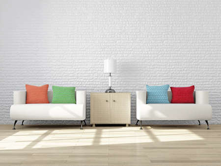 living room wall: Modern interior of a Living Room with Furniture for Mood and Design. Livingroom: Cozy Armchairs with colorful Pillows and a Lamp on the nightstand near a White Brick Wall. 3d Rendering Illustration. Stock Photo