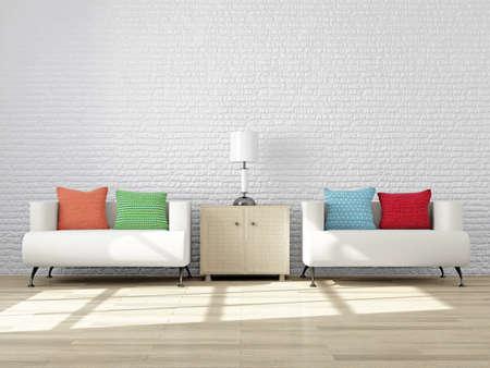 Moderno Interior De Una Sala De Estar Con Muebles Para El Estado De - Sillones-comodos-y-modernos