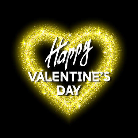 Happy Valentines Day Unusual Golden Glittering Congratulation Card.  Best Modern Design Vector Illustration: Decoration Shiny Heart with Typographic Letters and Gold Texture for Invitation Templates.