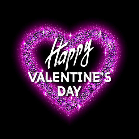 felicitate: Happy Valentines Day Unusual Jewelry Glittering Congratulation Card.  Best Design Vector Illustration: Decoration Shiny Heart with Typographic Letters and Diamond Texture for Invitation Templates.