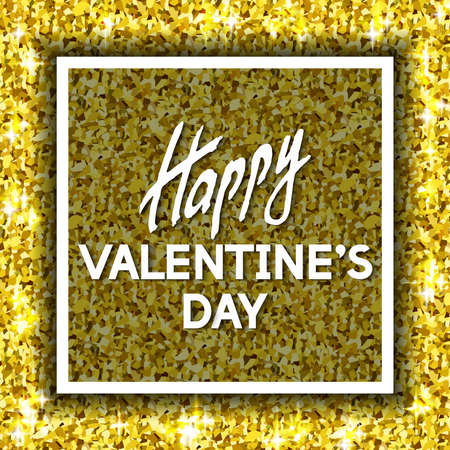 swank: Happy Valentines Day Unusual Golden Glittering Congratulation Card. Best Swank Design Vector Illustration: Decoration Shiny Gold Texture with Frame and Typographic Letters for Layouts, Templates.