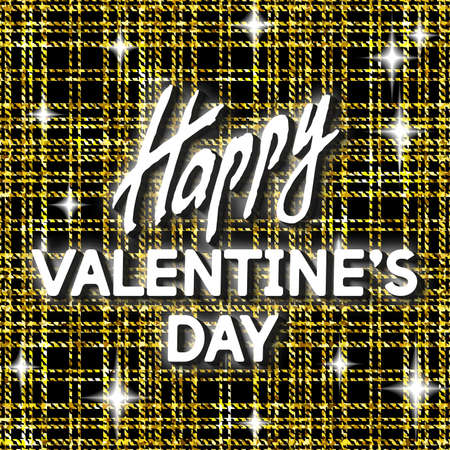 Happy Valentines Day Unusual Golden Glittering Festive Card. Best Swank Design Vector Illustration: Decoration Shiny Poster with Typographic Letters and Gold Clothing Texture for Layouts, Templates.