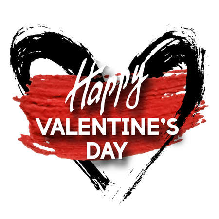 doodled: Happy Valentines Day Unusual Fun Congratulation Card with Acrylic Stain.  Best Fashion Design Vector Illustration: Decoration Typography Slogan with Doodled Frame for Invitation Layouts, Templates.