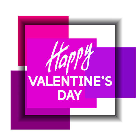 felicity: Happy Valentines Day Unusual Fun Congratulation Card with Color Squares.  Best Fashion Design Vector Illustration: Decoration Typography Slogan with Art Frame for Invitation layouts and Templates.