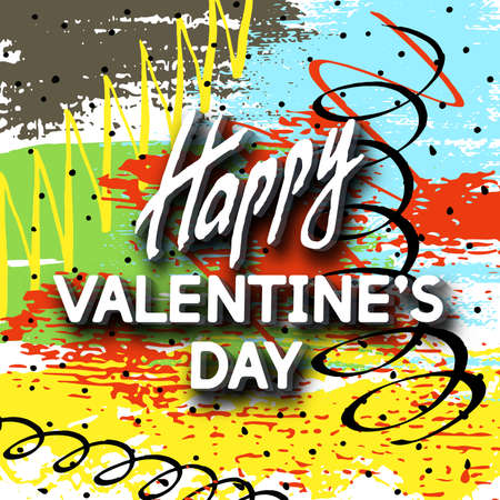 doodled: Happy Valentines Day Unusual Fun Congratulation Card Hand Drawn Collage.  Best Fashion Design Vector Illustration: Decoration Typography Slogan Holiday Days and Celebration Date.