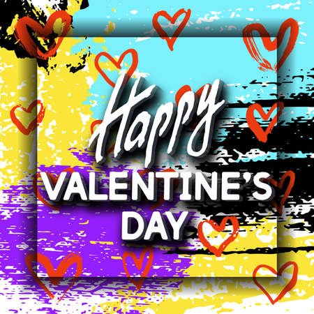 meaningful: Happy Valentines Day Unusual Fun Congratulation Card Hand Drawn Collage.  Best Fashion Design Vector Illustration: Decoration Typography Slogan Holiday Days and Celebration Date.