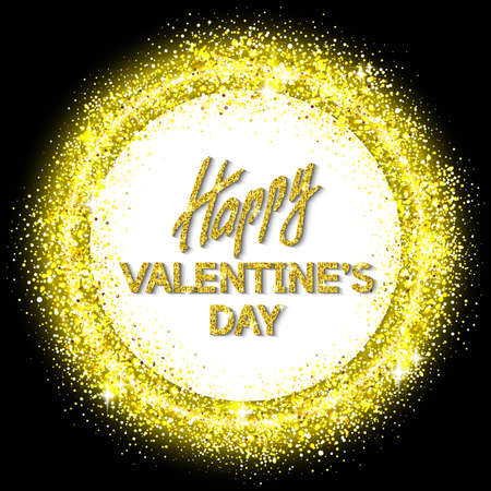 swank: Happy Valentines Day Unusual Golden Glittering Congratulation Card.  Best Swank Design Vector Illustration: Decoration Shiny Ornament with Typographic Letters and Gold Texture for Layouts, Templates. Illustration
