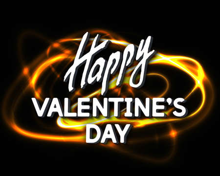 Happy Valentines Day greeting card. Best design. Decoration Text with Luminous line. Romantic congratulation. Pyrotechnic effect. Template for banners, posters, cards, placards. Vector Illustration.