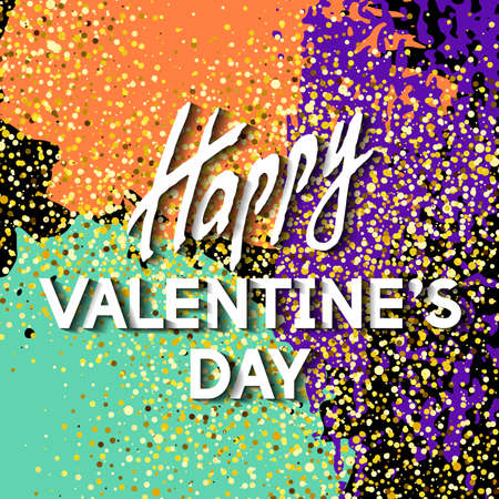 Greeting Happy Valentines Day. Best design. Decoration text with spotted background and Golden texture. Romantic congratulation. Template for banners, postcards, cards, placards. Vector Illustration.