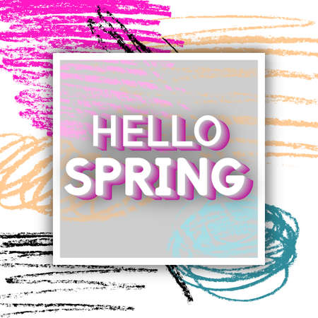 Vector Illustration Spring Greeting. Best design. Decorative text with hand-drawn texture. Congratulations on the arrival of Springtime. Template for banners, postcards, brochures, placards, flyers.
