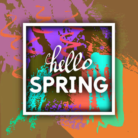cheer: Vector Illustration Spring Greeting. Best design. Decorative text with hand-drawn texture. Congratulations on the arrival of Springtime. Template for banners, postcards, brochures, placards, flyers.