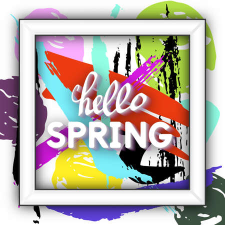 Use this Card for Congratulations. Spring Greeting Postcard. Best vector design. Decorative text with hand-drawn texture. Art Incredible template for banners, brochures, placards, flyers, posters.