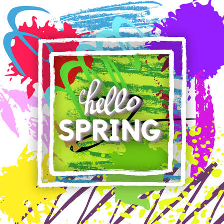 modish: Use this Card for Congratulations. Spring Greeting Postcard. Best vector design. Decorative text with hand-drawn texture. Art Decorating template for banners, brochures, placards, flyers, posters. Illustration
