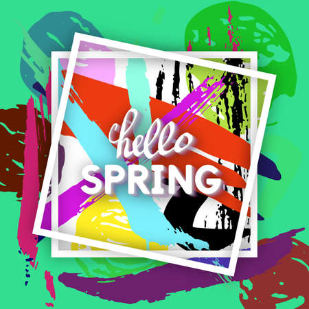 Use this Card for Congratulations. Spring Greeting Postcard. Best vector design. Decorative text with hand-drawn texture. Art Patchwork template for banners, brochures, placards, flyers, posters. Illustration