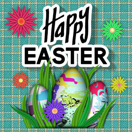 Happy Easter Card. Art Typography Text. Best Design Templates. Fabric Texture with Bright Flower, Eggs, Green Grass. Invitation Banner for Holiday Days and Celebration Date. Vector Illustration. Illustration
