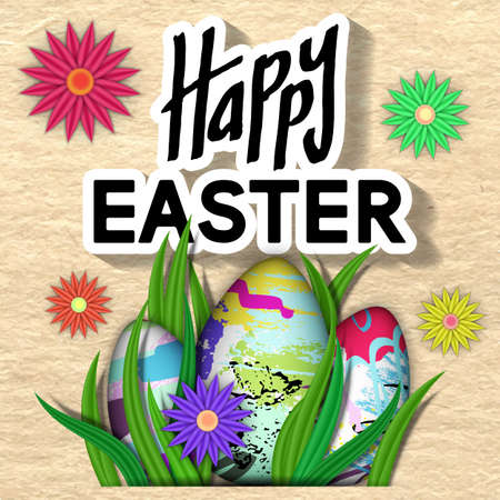 Happy Easter Card. Art Typography Text. Best Design Templates. Cardboard Texture with Bright Flower, Eggs, Green Grass. Invitation Banner for Holiday Days and Celebration Date. Vector Illustration. Illustration