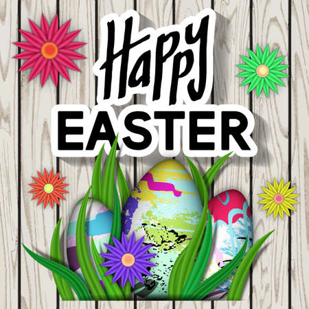 Happy Easter. Card with Typography Text. Best Design Templates. Wooden Texture with Bright Flower, Eggs, Green Grass. Invitation Banner for Holiday Days and Celebration Date. Vector Illustration.
