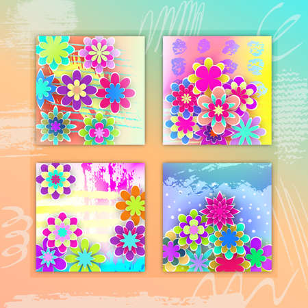 Set of square cards with colorful paper flowers beautiful design set of square cards with colorful paper flowers beautiful design for holidays days stock vector illustration mightylinksfo