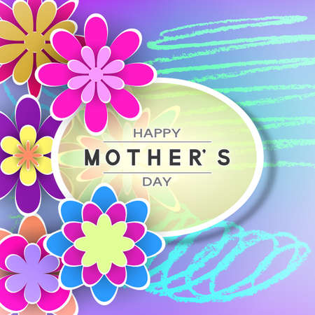 Mothers Day Greeting Card with Paper Flowers Design Stock Vector Illustration