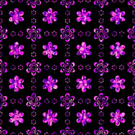 crystal background: Floral Background with Seamless Pattern of Glittering Flowers Stock Vector Illustration