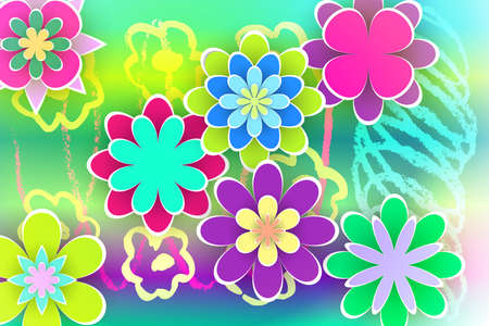 Beautiful Flowers Cut from Paper for Greeting Templates Design Stock Vector Illustration