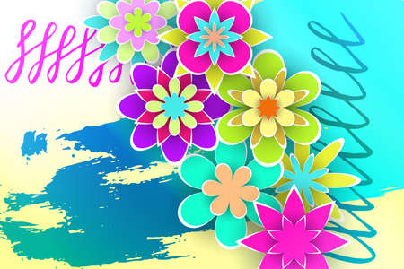 Greeting Flowers  Cut from Paper for Beautiful Templates Design Stock Vector Illustration