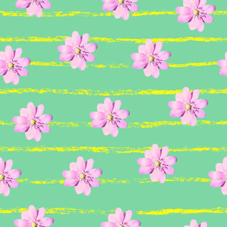 Floral Pattern with Blooming Flowers Stock Vector