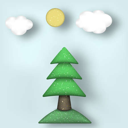 polymer: Applique with Cut Tree, Clouds, Sun Style Paper Origami Crafted World. Cutout Made Template with Elements and Symbols. Modeling Landscape for Banner, Card, Poster. Vector Illustrations Art Design. Illustration