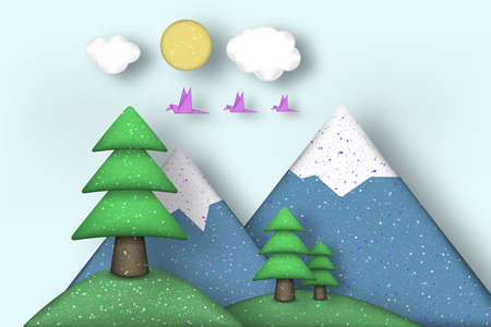 Applique with Cut Birds, Trees, Clouds, Mountains, Sun Style Paper Origami Craft World. Cutout Template with Concept Elements and Symbols. Landscape for Card, Poster. Vector Illustrations Art Design. Illustration