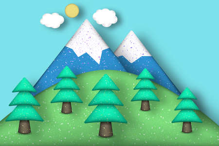 Style Paper Origami Concept: Applique Scene with Cut Pines, Mountains, Clouds, Sun. Cutout Template with Elements, Symbols. Modeling Landscape for Card, Poster. Vector Illustrations Art Design.