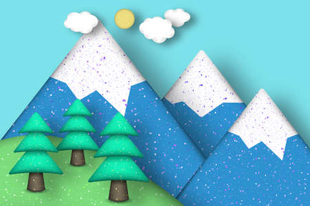 polymer: Applique Scene with Cut Pines, Mountains, Clouds, Sun Style Paper Origami Concept. Modeling Landscape for Card, Poster. Cutout Template with Elements, Symbols. Vector Illustrations Art Design. Illustration