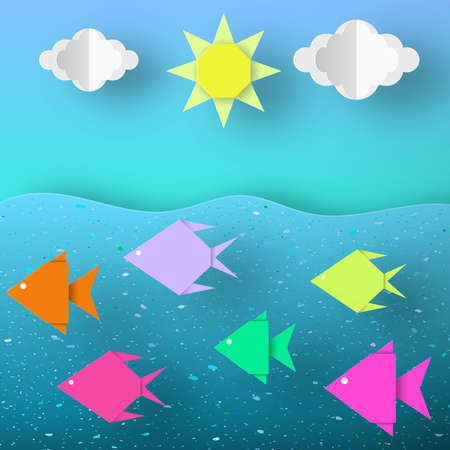 Underwater Paper Word. Undersea Life with Cut Fishes, Clouds, Sun.  Summer Landscape. Cutout Crafted Applique. Vector Illustrations Art Design. Ilustrace
