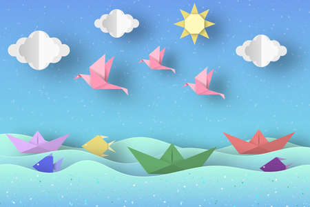 Cut Birds, Ships, Palm Tree, Clouds and Sun Style Paper Origami Crafted World. Cutout Made Template with Elements and Symbols. Landscape for Banner, Card, Poster. Vector Illustrations Art Design.