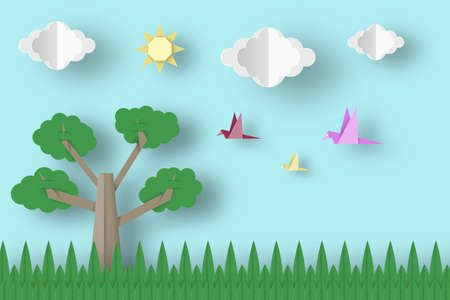 africa baobab tree: Cut Birds, Tree, Clouds, Sun for Paper Origami Concept, Applique Scene. Childish Cutout Template with Elements, Symbols. Toy Landscape for Card, Poster. Vector Illustrations Art Design.