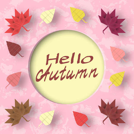 greet: Hello Autumn Paper Greeting Card Crafted Abstract Origami Concept. Cut Applique Promotion Artwork Scene with Elements, Sign, Symbols, Objects. Quality Cutout Template. Vector Illustrations Art Design.