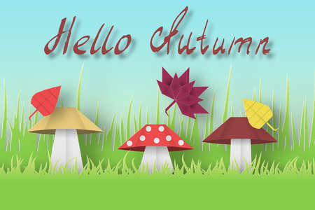 Hello Autumn Paper Greeting Card Crafted Abstract Origami Concept. Cut Applique Promotion Artwork Scene with Elements, Sign, Symbols, Objects. Quality Cutout Template. Vector Illustrations Art Design.
