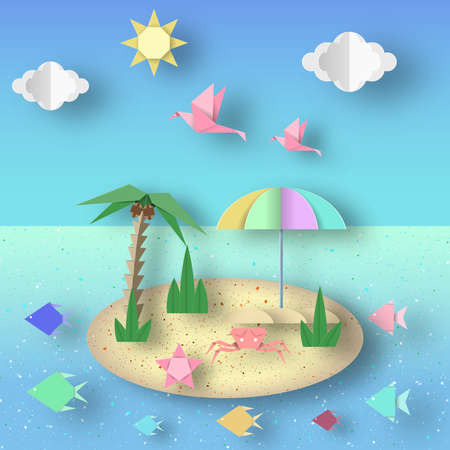Summer Origami Fun Art Applique. Paper Crafted Cutout World. Composition with Style Elements and Symbols of Summertime. Decoration Template for Banner, Card, Logo, Poster. Design Vector Illustrations.