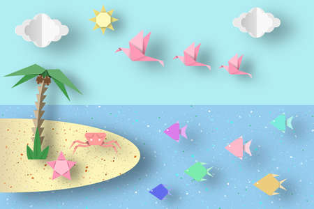 Summer Origami Fun Art Applique Paper Crafted Cutout World