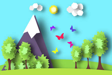 Hill Scene Paper World. Rural Life with Cut, Meadow, Trees, Clouds, Sun. Over the Field Flying Butterflies. Summer Landscape. Cutout Applique. Hanging Elements. Vector Illustrations Art Design.