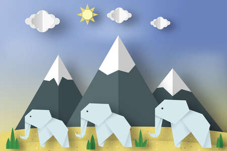 Paper Origami Concept, Applique Scene with Cut Elephants, Mountains, Clouds, Sun. Childish Cutout Template with Elements, Symbols. Toy Landscape for Card, Poster. Vector Illustrations Art Design.