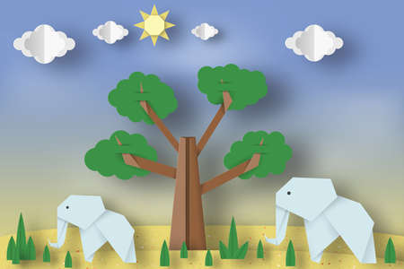Paper Origami Concept, Applique Scene with Cut Elephants, Tree, Clouds, Sun. Childish Cutout Template with Elements, Symbols. Toy Landscape for Card, Poster. Vector Illustrations Art Design. Illustration