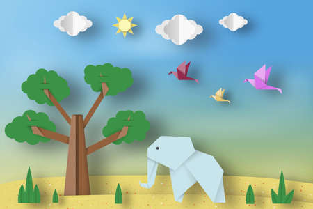 Paper Origami Concept, Applique Scene with Cut Elephants, Birds, Tree, Clouds, Sun. Childish Cutout Template with Elements, Symbols. Toy Landscape for Card, Poster. Vector Illustrations Art Design.