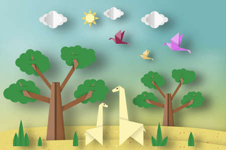 Paper Origami Concept, Applique Scene with Cut Giraffes, Birds, Tree, Clouds, Sun. Childish Cutout Template with Elements, Symbols. Toy Landscape for Card, Poster. Vector Illustrations Art Design.