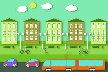 Ecology Concept. City Life Cut Paper Tree, Building, Automobile, Tram. Bike and GyroScooter in the Park. Eco Environment. Cutout Template for Banner, Card, Poster. Vector Illustrations Art Design.