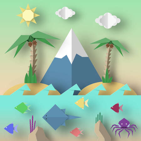 Origami Style Crafted out of Paper with Cut Mountains, Octopus, Stingray, Fish, Sun, Sky. Abstract Underwater Life. Template Under the Water Cutout Elements, Symbols. Vector Illustrations Art Design.