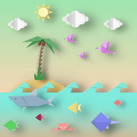 Origami Style Crafted out of Paper with Cut Shark, Stingray, Birds, Fish, Sun, Sky. Abstract Underwater Life. Template Under the Water Cutout Elements, Symbols. Vector Illustrations Art Design.